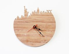 New York Modern Wall Clock   Statue Of Liberty, Empire State Building Clock
