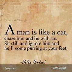 A man is like a cat. Chase him and he will run. Sit still and ignore him and he'l come purring at your feet.