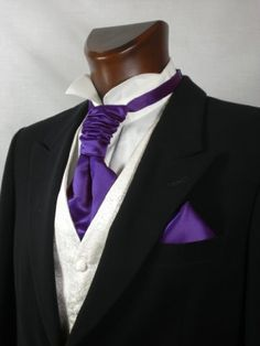 Mens and Boys Cadbury Purple Satin Wedding Cravat and Hankie Tuxedo Wedding, Wedding Groom, Wedding Suits, Wedding Attire, Wedding Dresses, Wedding Vest, Wedding Tuxedos, Cadbury Purple Wedding, All Black Tuxedo