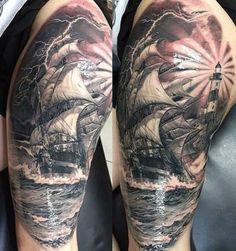 Ship with lighthouse lake Tattoo - http://tattootodesign.com/ship-with-lighthouse-lake-tattoo/   #Tattoo, #Tattooed, #Tattoos