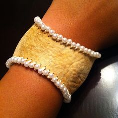 Baseball Cuff with pearls. Perfect for the baseball mom/wife/girlfriend