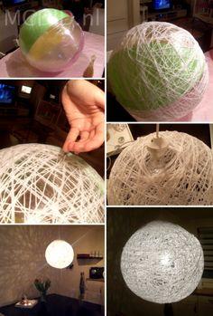 Lampenkap om zelf te maken met wol katoen of touw