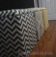 I''m happy to share some free plans and a tutorial for the upholstered storage benches that I made for Madison''s bedroom.  They are SUPER easy to make.  Now you can make your own storage bench or ...