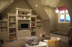 Veranda Interiors - girls rooms - Pratt and Lambert - Winslow Gray - built-ins, cabinets, shelves, vaulted, ceiling, glass, pendant light, window seat, striped cushion, pink, roman shade, Ikea Tullsta chairs, yellow throw, carpet, play room,