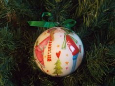 "Decoupage Christmas ball/decoration for the Christmas tree-Christmas bauble ornament ""Christmas is. .. love"""
