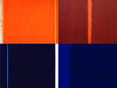 day [orange: UP] >< night [blue: DOWN] [interpretation: reframed composition of 4 paintings by Barnett Newman: The Third Onement 1 Mitternacht Blau Ulysses Abstract Photos, Abstract Art, Post Painterly Abstraction, Project Abstract, Barnett Newman, World Famous Artists, Colour Field, Geometric Painting, American Artists