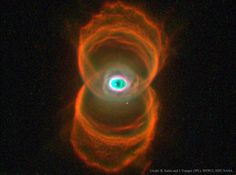 MyCn18: The sands of time are running out for the central star of this hourglass-shaped planetary nebula. With its nuclear fuel exhausted, this brief, spectacular, closing phase of a Sun-like star's life occurs as its outer layers are ejected - its core becoming a cooling, fading white dwarf.