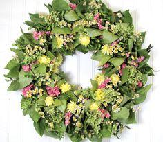 Dried Floral Wreath, Dried Flowers, Wreaths, Dried Floral Decor, Cottage Wreath, Hydrangea Wreaths on Etsy, $48.00