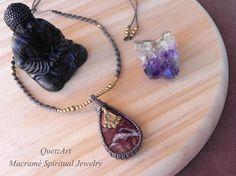 Macramé Pendant with RHODOCHROSITE gemstone. Spiritual