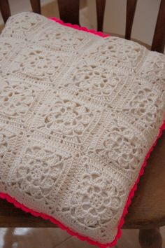 crocheted pillow with fluo