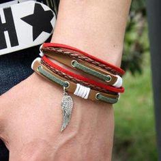 Wing-Charm Genuine Leather Bracelet Men Accesories, Leather Accessories, Leather Necklace, Leather Jewelry, Men's Jewelry, Bracelets For Men, Fashion Bracelets, Leather Wallet Pattern, Moda Formal