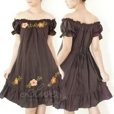Flower Off Shoulder Dress Scoop Neck Dress in Dark by oOlives,