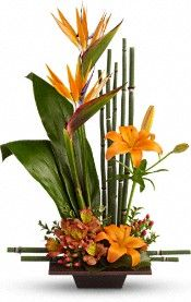 Teleflora's Exotic Grace Flowers- Love the bamboo in it.   Perfect use for your exotics from your garden