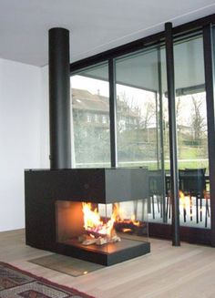 Feuerstellen www.wirth-schmid.ch Wirth & Schmid AG, Talacher, 6340 Baar Wood Burner Fireplace, Fireplace Update, Open Fireplace, Fireplace Design, Suspended Fireplace, Warehouse Living, Electric Fireplace Tv Stand, Interior Exterior, Interior Design