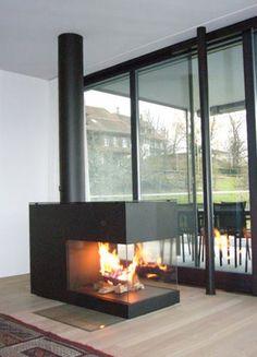 Feuerstellen www.wirth-schmid.ch Wirth & Schmid AG, Talacher, 6340 Baar Wood Burner Fireplace, Fireplace Update, Open Fireplace, Fireplace Design, Suspended Fireplace, Warehouse Living, Electric Fireplace Tv Stand, Luxury Tents, House Inside