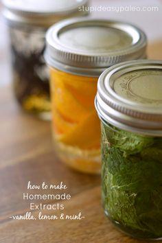 Lemon Extract! How to Make Homemade Extracts — Vanilla, Mint & Lemon | stupideasypaleo.com