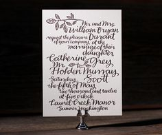 Letterpress Wedding Invitations | Balsam Calligraphy Design | Bella Figura Letterpress