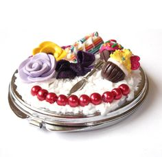 Compact Mirror Food Miniatures  polymer clay by InspirationsByNell, $22.00
