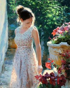 Two Beautiful Creatures A Woman And a Rose Vladimir Volegov