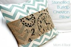 Stenciled Burlap Chevron Pillow - Chase the Star