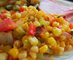 From the Seattle Times newspaper, a simple and tasty side dish. This can be prepared ahead of time and rewarmed before serving. Do not add the bacon or lime juice until just before serving.ZWT South region (Cajun) and Mid-West region (corn). Frito Corn Salad, Corn Tomato Salad, Corn Salads, Bacon Wrapped Corn, Summer Corn Chowder, Summer Corn Salad, Corn Relish, Corn Dishes, Veggie Dishes