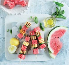 Make these watermelon and grilled halloumi skewers a summertime favourite! The sweet and salty flavours create a delicious flavour combo. Watermelon And Halloumi, Grilled Watermelon, Greek Dinners, Skewer Appetizers, Grilled Halloumi, Summer Bbq, Sweet And Salty, Skewers, Starters