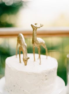 Brass deer cake toppers. Etsy. Photography: Mi Amore Foto - miamorefoto.com Read More: http://www.stylemepretty.com/2014/01/03/mt-hood-national-forest-wedding/