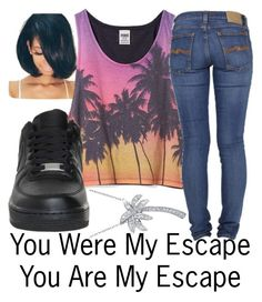 """""""Escape--"""" by ja-la ❤ liked on Polyvore featuring Bling Jewelry, Victoria's Secret PINK, Nudie Jeans Co. and NIKE"""