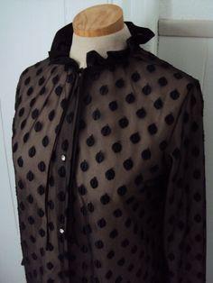 Vintage Polka Dot Ruffle Fancy Blouse Shirt by nanapatproject, $22.00