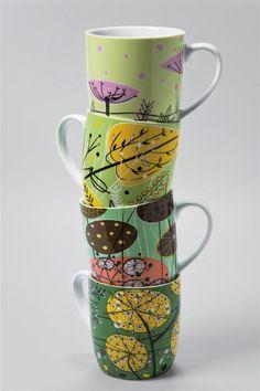 KARE Haferl Leaf Tassen / Kaffeebecher 4er Set 23 €
