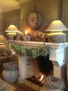 Love the fireplace. Hate the urns. Fireplace Mantle, Fireplace Design, Home And Living, Living Room, Deco Addict, Cozy Nook, Interior Decorating, Interior Design, Romantic Homes