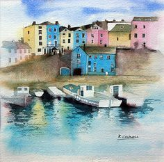 Fine art print of original watercolour painting of Tenby Harbour, Wales.