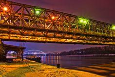 Bratislava Slovakia bridge and old Apollo Danube