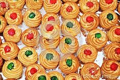 Colorful small Italian pastries background.