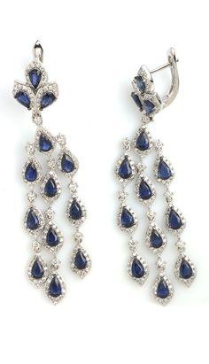 Blue Sapphire Diamond Earrings Item #386-113816 5.99 ctw Blue Sapphire Pear & 2.03 ctw Diamond Round 14K White Gold Dangle Earrings - Gem Shopping Network