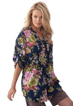 Roamans Women's Plus Size English Floral Bigshirt Floral Tops, Floral Prints, Mandarin Collar, Colorful Flowers, Tunics, Me Too Shoes, Plus Size Women, Feminine, Fancy