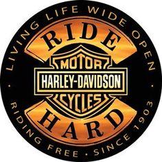 Harley-Davidson® Ride Hard Round Embossed Tin Sign Ande Rooney http://www.amazon.com/dp/B008FHBBNK/ref=cm_sw_r_pi_dp_C4ewub1GYGMKH