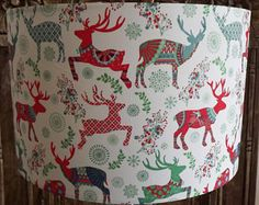 Christmas Lampshade Xmas Decoration Nordic Reindeer Shabby Chic Christmas lights Free Gift