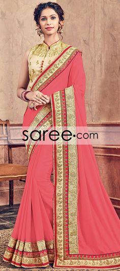 Peach Georgette Saree with Embroidery Work  #Saree #GeorgetteSarees #IndianSaree #Sarees  #SilkSarees #PartywearSarees #RegularwearSarees #officeWearSarees #WeddingSarees #BuyOnline #OnlieSarees #NetSarees #ChiffonSarees #DesignerSarees #SareeFashion