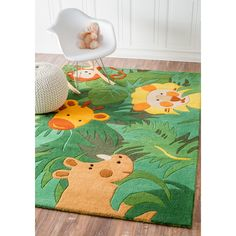 Fun playful pattern and bold colors makes up this fabulous kids rug. This rug is hand-carved for a bold and unique textured effect.