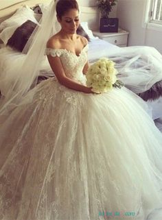 lace wedding dresses ball gowns with Pretty off the shoulder