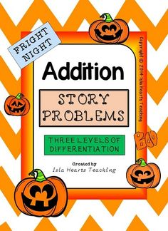 This 40-paged Halloween-themed ADDITION STORY PROBLEM pack is differentiated (three levels) to challenge and engage your students -- whatever their ability level. Simply print the sheets, assemble them in booklets and start using immediately! It makes math centers fun, morning work a breeze and lesson preparation easy!