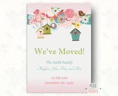 Printable Moving Announcement - Moving Cards - Printable Moving Card by PegsPrints on Etsy