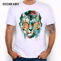 2017 Summer Custom Lion/Owl/Wolf/Tiger/Cat Design T Shirt Men's Watercolor Animal Graphics Printed Tops Hipster Tees Design Logo, Cat Design, White Casual, Casual Tops, T Shirt Hipster, Tops Hipster, Cool T Shirts, Tee Shirts, Beau T-shirt