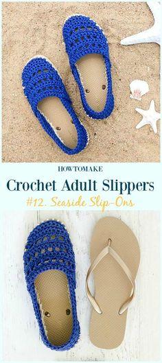 Seaside Slip-Ons with Flip Flop Soles Crochet Free Pattern - #Crochet; Adult #Slippers; Free Patterns