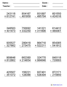 4, 5, or 6 Digits Mixed Operator Worksheets