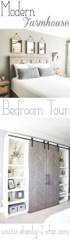 Every piece of furniture, in this room, is DIY! Come check out my master bedroom tour, we are covering everything from paint on the walls to the decorations on the shelves! Free plans for everything in this room, too! www.shanty-2-chic.com bedroom tour, modern farmhouse bedroom tour, room tour, rustic chic, rustic modern bedroom.