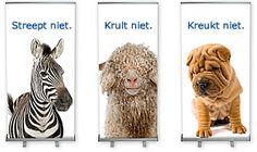 Onze roll-up banners: strepen niet, krullen niet en kreuken niet !