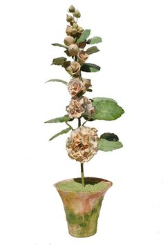Vieuxtemps Porcelain, Large Hollyhock. Porcelain flowers and pot. Tole leaves and stems. Height 24' x 7'