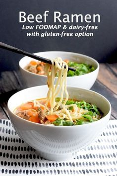 Low FODMAP Beef Ramen - - Low FODMAP Beef Ramen Asian Recipes Delicious beef ramen with spelt noodles. Low FODMAP, dairy-free, wheat-free and with a gluten-free option. Sans Lactose, Lactose Free, Sans Gluten, Lunch Recipes, Diet Recipes, Cooking Recipes, Healthy Recipes, Potato Recipes, Asian Recipes